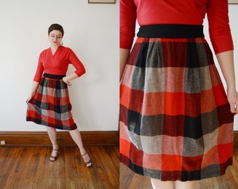 50s/60s Red Checkered Skirt - M