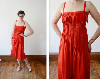 1970s Red Albert Nipon Pleated Sundress - S