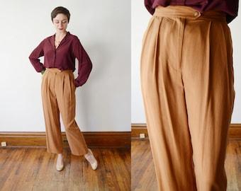 90s Burnt Sienna Silk Pants - M