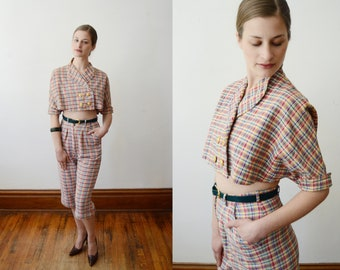 Early 1950s Capri and Jacket Plaid Outfit - XS