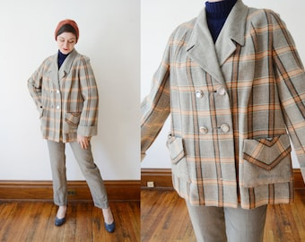 1950s Plaid Swing Jacket - M/L As Is