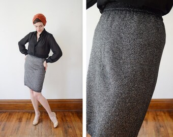 Deadstock 1980s Silver Knit Pencil Skirt - S/M