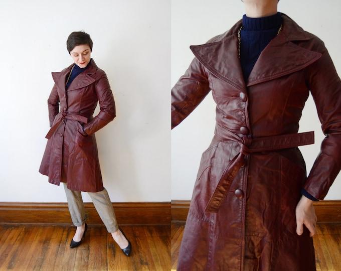 1970s Burgundy Leather Jacket - S