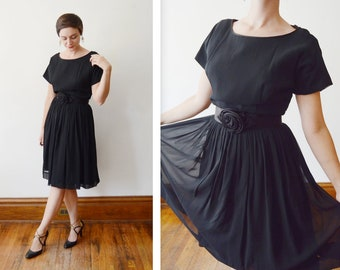 1950s Black Chiffon Party Dress with Rose Belt - M