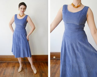 1950s Deadstock Periwinkle Corduroy Dress - S