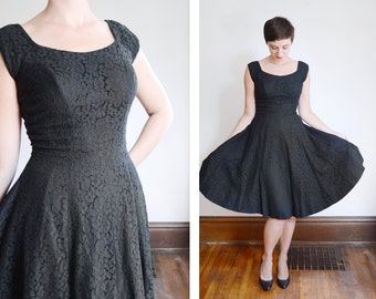 1950s Black Lace Party Dress - S