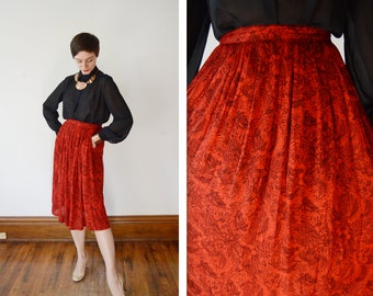 1980s Red and Black Rayon Skirt - S/M