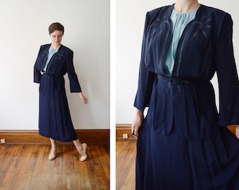 RESERVED Plus Size 1940s Blue Blouse and Skirt Set - XL