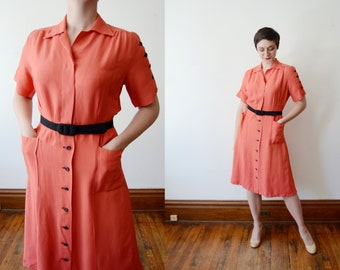 1940s Coral Rayon Shirtdress - M