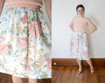 1970s Floral Cotton Skirt - M