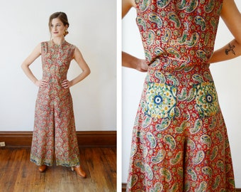 60s/70s Cotton Batik Jumpsuit - S