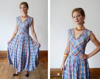 1940s Blue Plaid Midi Dress - XS