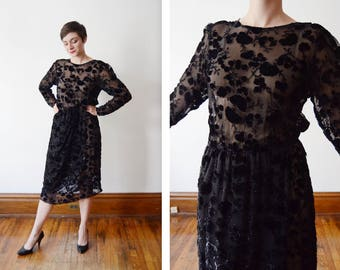 1980s Burnout Silk Velvet Dress - S