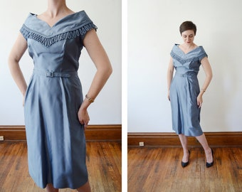 1950s Powder Blue Formal Dress with Train - M