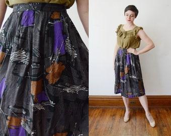 RESERVED 1980s Paint Stroke Skirt - M