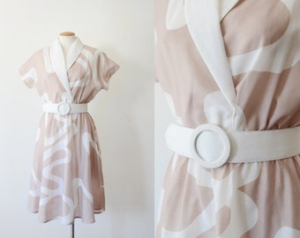 1980s Tan and White Dress - S