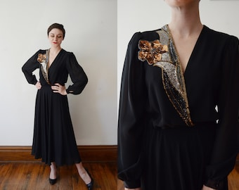 Beaded 1980s Black Dress - M