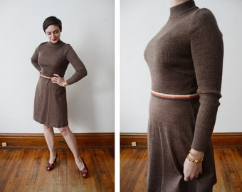 Early 1970s Brown Knit Sweater Dress - S/M