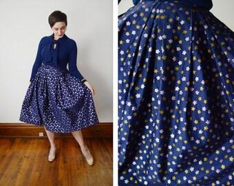1950s Nelly De Grab Navy Metallic Skirt - S/M
