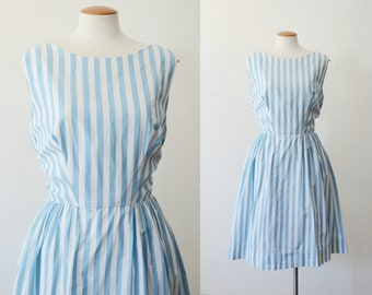 1960s Blue and White Striped Dress - M/L