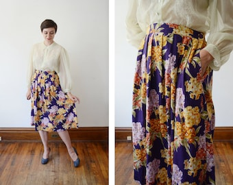 1980s Purple Floral Rayon Skirt - L