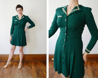 1970s Green Jersey Mini Dress - S