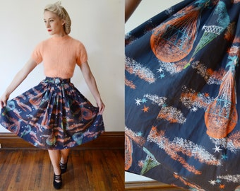 1950s Unicorn Novelty Skirt / Hot Air Balloon Novelty Skirt - XS