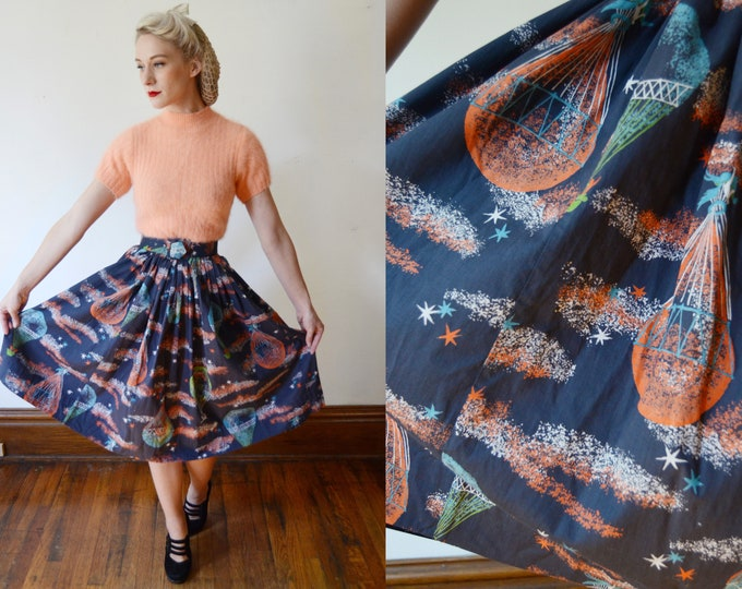 1950s Unicorn Novelty Skirt / Hot Air Balloon Novelty Skirt - XS