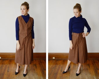 1970s Brown Vest and Culotte set - S