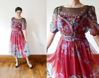 1970s Floral Chiffon Dress -  M