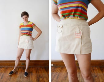 Deadstock Cream 1970s Cotton Shorts - S/M