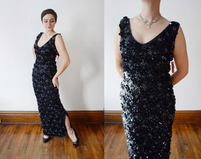 1960s Sequined Wool Jersey Gown - M/L