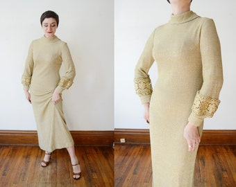 1970s Metallic Knit Dress - M