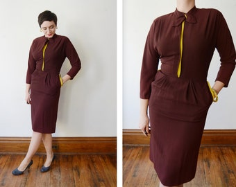 1940s Maroon and Chartreuse Rayon dress - S