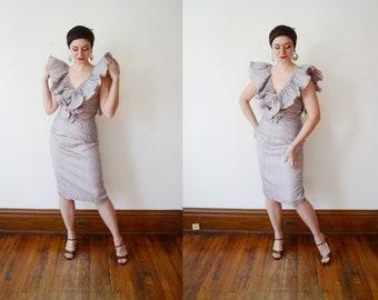 Deadstock 1980s Purple Ruffle Cocktail Dress - M