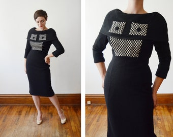 1950s Black Checkerboard Wiggle Dress - S/M