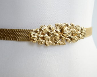 Gold Metal Mesh Belt with Rose Buckle