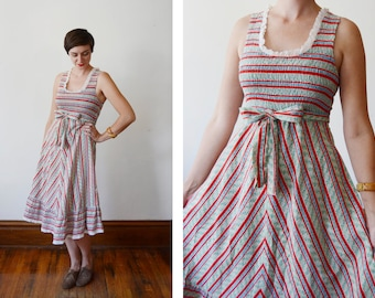 1970s Floral Striped Dress - S
