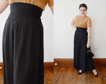 Early 1950s Bobbie Brooks Black Maxi Skirt - S