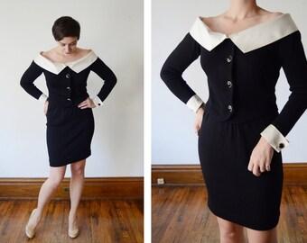 1970s/1980s St John Black Sweater Skirt Set - S