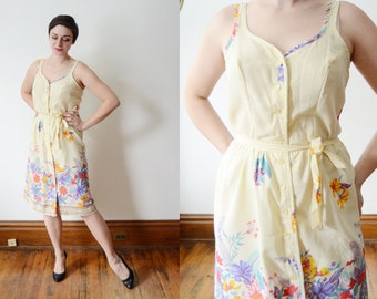1970s Pale Yellow Floral Sundress - M