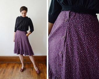 1970s Petite Purple Floral Skirt - S