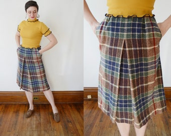 1970s Aline Box Pleat Plaid Skirt - S/M