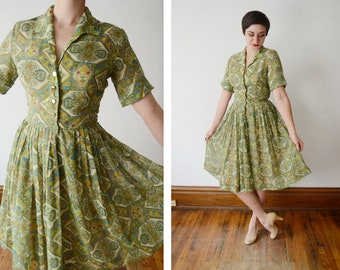 1950s Green Paisley Shirtwaist Dress - S/M