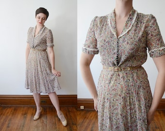 1940s Sheer Paisley Puff Sleeve Dress - S/M