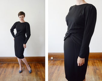 1980s Black Rayon Cocktail Dress - S
