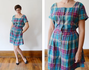 1980s/1990s Deadstock Plaid Romper - L
