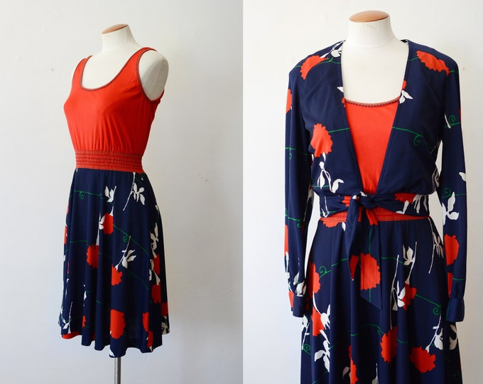 1970s Red and Blue Floral Dress and jacket - S