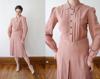 1930s Dusty Mauve Shirtwaist Dress - M/L