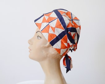 1960s Orange Geometric Bonnet